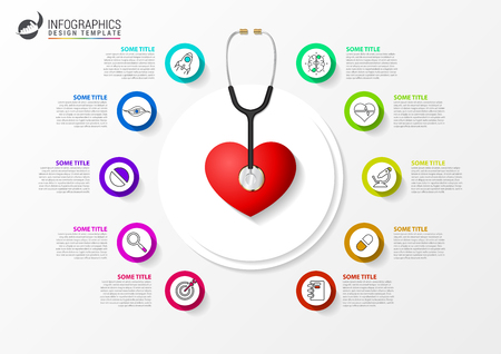Medical and Health. Infographic design template with stethoscope. Vector illustration Ilustração