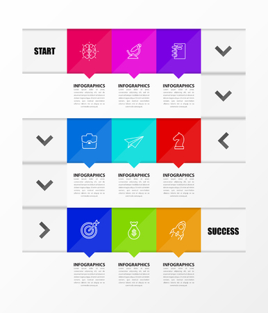 Infographic design template. Timeline concept with 9 steps. Can be used for workflow layout, diagram, banner, webdesign. Vector illustration Ilustração