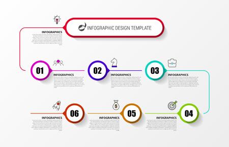 Infographic design template. Timeline concept with 7 steps. Can be used for workflow layout, diagram, banner, webdesign. Vector illustration Ilustração