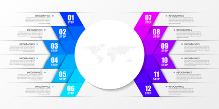 Modèle de conception infographique. Concept créatif avec 12 étapes. Peut être utilisé pour la mise en page du flux de travail, le diagramme, la bannière, la conception Web. Illustration vectorielle