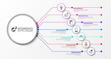 Modèle de conception infographique. Concept créatif en 7 étapes. Peut être utilisé pour la mise en page du flux de travail, le diagramme, la bannière, la conception Web. Illustration vectorielle