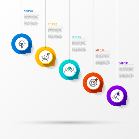 Infographic design template. Creative concept with 5 steps. Can be used for workflow layout, diagram, banner, webdesign. Vector illustration Çizim