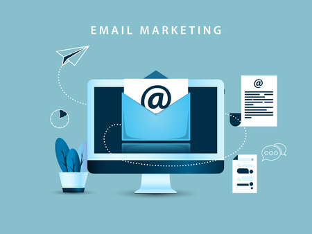 E-mail marketing concept. Creative template in blue style. Vector illustration Foto de archivo - 125310784