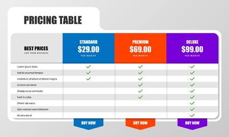 Modèle de conception infographique. Concept de table de prix. Peut être utilisé pour la mise en page du flux de travail, le diagramme, la bannière, la conception Web. Illustration vectorielle