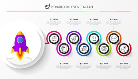 Plantilla de diseño de infografía. Concepto creativo con 8 pasos. Se puede utilizar para el diseño de flujo de trabajo, diagrama, banner, diseño web. Ilustración vectorial