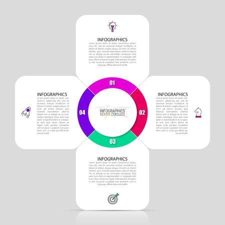 Plantilla de diseño de infografía. Concepto creativo con 4 pasos. Se puede utilizar para diseño de flujo de trabajo, diagrama, banner, diseño web. Ilustración vectorial