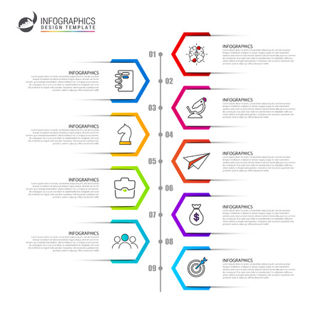 Infographic design template. Timeline concept with 9 steps. Can be used for workflow layout, diagram, banner, webdesign. Vector illustration Иллюстрация