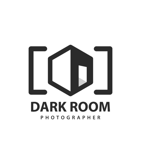 Dark room studio, Media company. Photographer symbol. Vector illustration