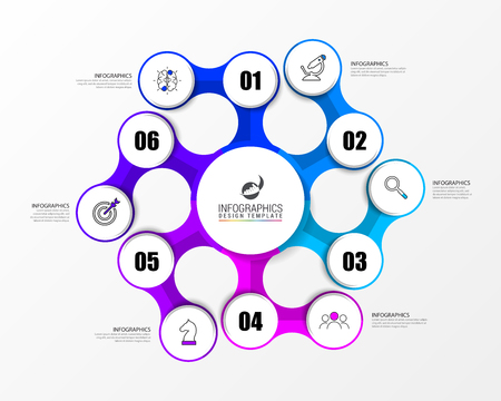 Infographic design template. Creative concept with 6 steps. Can be used for workflow layout, diagram, banner, webdesign. Vector illustration Çizim