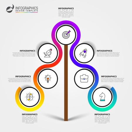 Modello di progettazione infografica. Concetto creativo con 7 passaggi. Può essere utilizzato per il layout del flusso di lavoro, diagramma, banner, web design. Illustrazione vettoriale