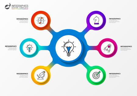 Modèle de conception infographique. Concept créatif en 6 étapes. Peut être utilisé pour la mise en page du flux de travail, le diagramme, la bannière, la conception Web. Illustration vectorielle Vecteurs
