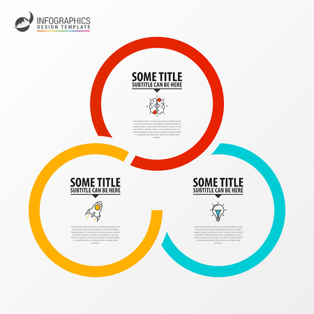 Plantilla de diseño de infografía. Concepto creativo con 3 pasos. Se puede utilizar para diseño de flujo de trabajo, diagrama, banner, diseño web. Ilustración vectorial