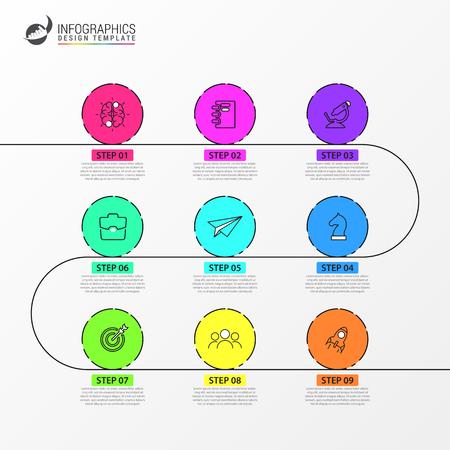 Plantilla de diseño de infografía. Concepto de línea de tiempo con 9 pasos. Se puede utilizar para diseño de flujo de trabajo, diagrama, banner, diseño web. Ilustración vectorial Ilustración de vector