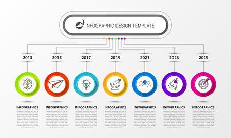 Modèle de conception infographique. Concept de chronologie en 7 étapes. Peut être utilisé pour la mise en page du flux de travail, le diagramme, la bannière, la conception Web. Illustration vectorielle