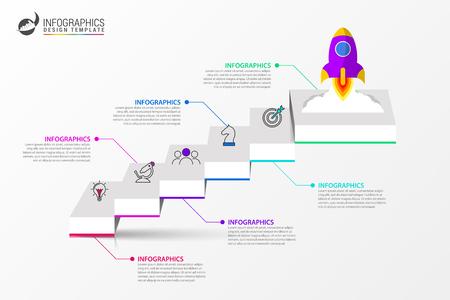 Modello di progettazione infografica. Concetto creativo con 6 passaggi. Può essere utilizzato per il layout del flusso di lavoro, diagramma, banner, web design. Illustrazione vettoriale