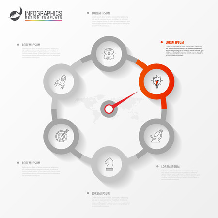 Infographic design template. Creative concept with 6 steps. Can be used for workflow layout, diagram, banner, webdesign. Vector illustration Ilustracja