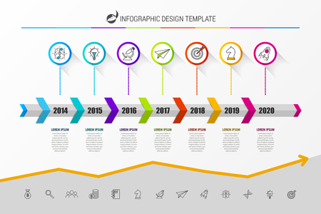 Infographic design template. Timeline concept with 7 steps. Can be used for workflow layout, diagram, banner, webdesign. Vector illustration Ilustracja