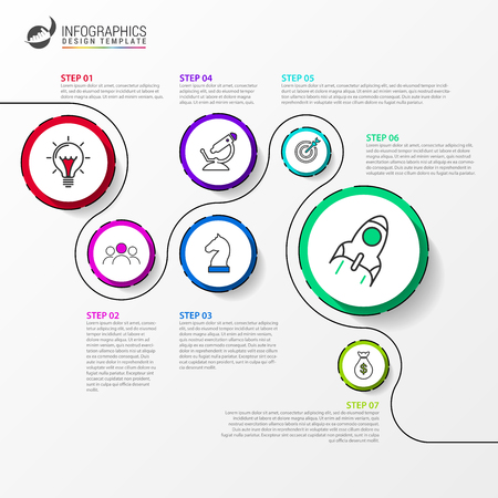 Infographic design template. Timeline concept with 7 steps. Can be used for workflow layout, diagram, banner, webdesign. Vector illustration Illusztráció