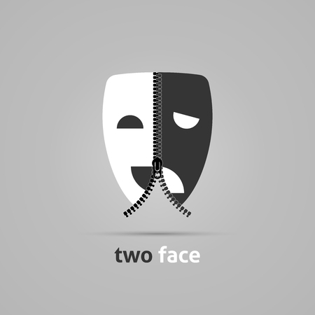 theater masks. Creative concept with zipper. Vector illustration