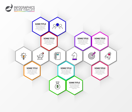 Infographic design template. Creative concept with 6 steps. Can be used for workflow layout, diagram, banner, webdesign. Vector illustration Banque d'images - 123260255