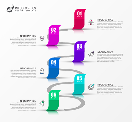 Infographic design template. Creative concept with 6 steps. Can be used for workflow layout, diagram, banner, webdesign. Vector illustration Illustration