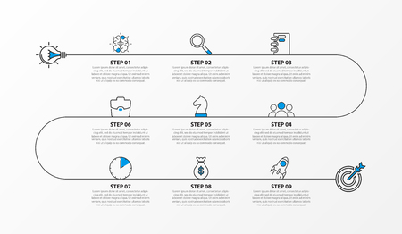 Infographic design template. Timeline concept with 9 steps. Can be used for workflow layout, diagram, banner, webdesign. Vector illustration 向量圖像