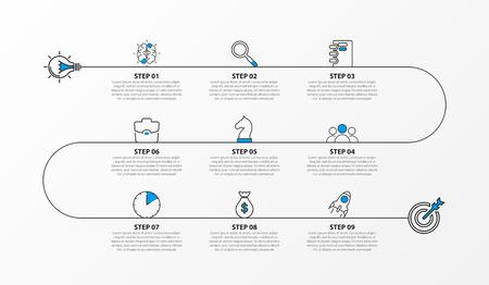 Modèle de conception infographique. Concept de chronologie avec 9 étapes. Peut être utilisé pour la mise en page du flux de travail, le diagramme, la bannière, la conception Web. Illustration vectorielle
