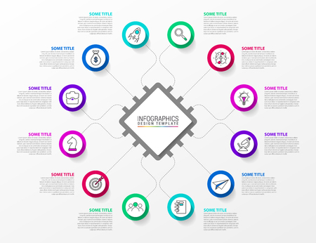 Infographic design template. Technology concept with 12 steps. Can be used for workflow layout, diagram, banner, webdesign. Vector illustration.