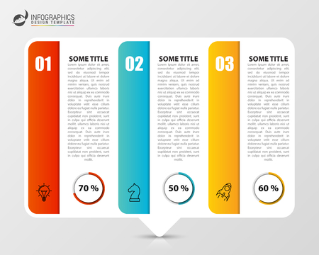 Infographic design template. Creative concept with 3 steps. Can be used for workflow layout, diagram, banner, webdesign. Vector illustration Illustration