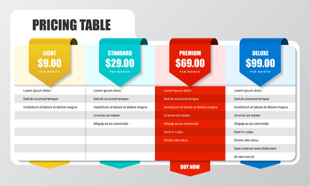 Infographic design template. Pricing table concept. Can be used for workflow layout, diagram, banner, webdesign. Vector illustration Ilustracja
