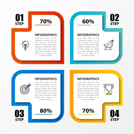 Infographic design template. Creative concept with 4 steps. Can be used for workflow layout, diagram, banner, webdesign. Vector illustration Zdjęcie Seryjne - 128435817