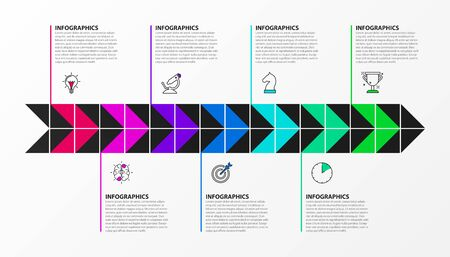 Infographic design template. Timeline concept with 7 steps. Can be used for workflow layout, diagram, banner, webdesign. Vector illustration Zdjęcie Seryjne - 130024842