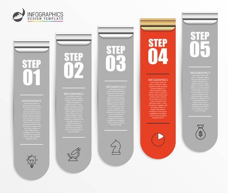 Infographic design template. Creative concept with 5 steps. Can be used for workflow layout, diagram, banner, webdesign. Vector illustration. Ilustracja