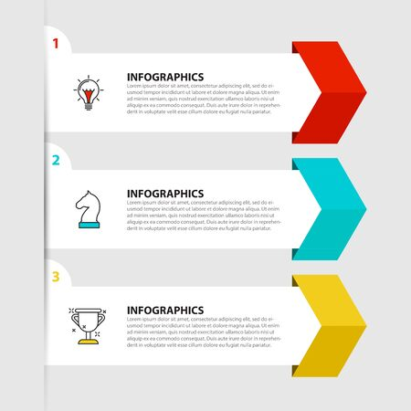 Infographic design template. Creative concept with 3 steps. Can be used for workflow layout, diagram, banner, webdesign. Vector illustration. Zdjęcie Seryjne - 131421987