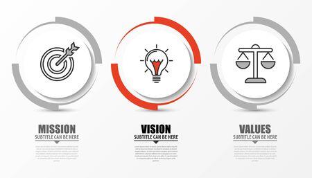 Modello di progettazione infografica. Concetto creativo con 3 passaggi. Può essere utilizzato per il layout del flusso di lavoro, diagramma, banner, web design. Illustrazione vettoriale Vettoriali