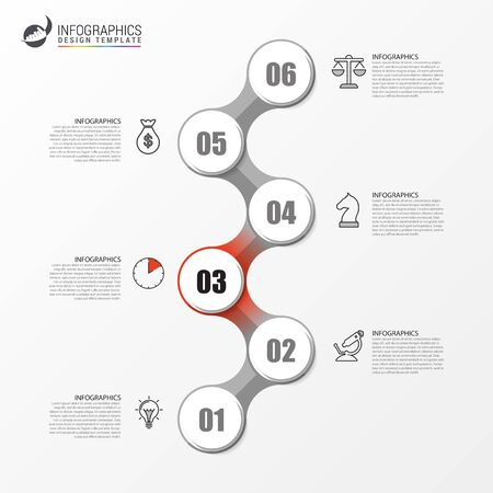 Infographic design template. Timeline concept with 6 steps. Can be used for workflow layout, diagram, banner, webdesign. Vector illustration
