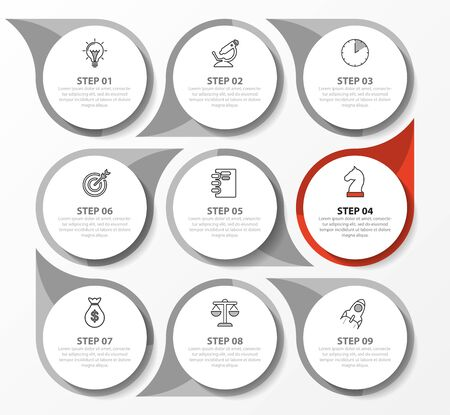 Infographic design template. Creative concept with 9 steps. Can be used for workflow layout, diagram, banner, webdesign. Vector illustration.