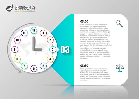 Infographic design template. Clock concept with 12 steps. Can be used for workflow layout, diagram, banner, webdesign. Vector illustration