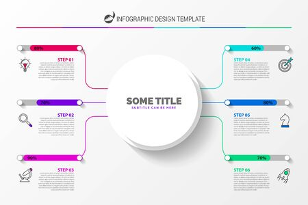Infographic design template. Creative concept with 6 steps. Can be used for workflow layout, diagram, banner, webdesign. Vector illustration Vetores