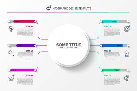 Modello di progettazione infografica. Concetto creativo con 6 passaggi. Può essere utilizzato per il layout del flusso di lavoro, diagramma, banner, web design. Illustrazione vettoriale Vettoriali