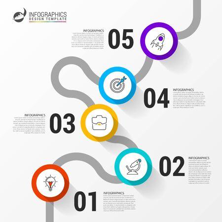 Modello di progettazione infografica. Concetto creativo con 5 passaggi. Può essere utilizzato per il layout del flusso di lavoro, diagramma, banner, web design. Illustrazione vettoriale Vettoriali