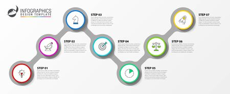 Infographic design template. Timeline concept with 7 steps. Can be used for workflow layout, diagram, banner, webdesign. Vector illustration Stock Illustratie