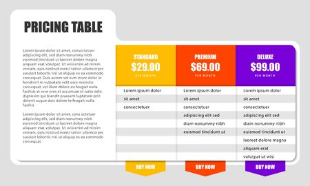 Infographic design template. Pricing table concept. Can be used for workflow layout, diagram, banner, webdesign. Vector illustration 向量圖像