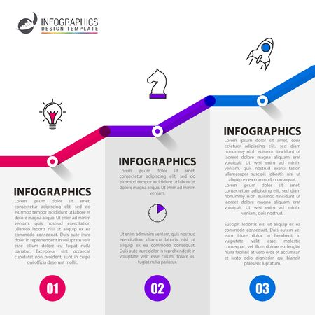 Infographic design template. Creative concept with 3 steps. Can be used for workflow layout, diagram, banner, webdesign. Vector illustration Ilustrace