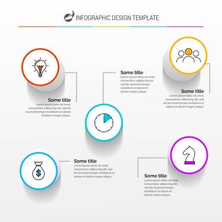 Modèle de conception infographique. Concept créatif avec 5 étapes. Peut être utilisé pour la mise en page du flux de travail, le diagramme, la bannière, la conception Web. Illustration vectorielle