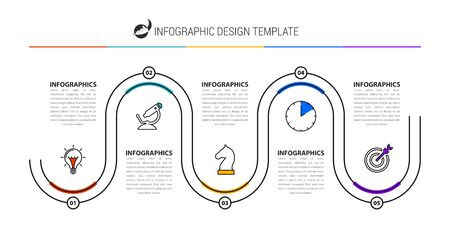 Infographic design template. Creative concept with 5 steps. Can be used for workflow layout, diagram, banner, webdesign. Vector illustration  イラスト・ベクター素材