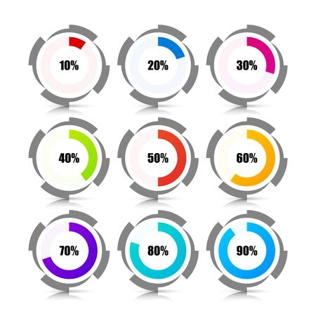 Infographic design template. Percentage Loading Circles. Can be used for workflow layout, diagram, banner, webdesign. Vector illustration