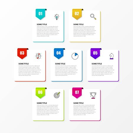 Infographic design template. Creative concept with 7 steps. Can be used for workflow layout, diagram, banner, webdesign. Vector illustration Reklamní fotografie - 146382544
