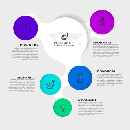 Infographic design template. Creative concept with 5 steps. Can be used for workflow layout, diagram, banner, webdesign. Vector illustration Иллюстрация