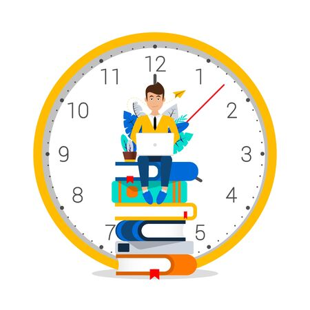Time to learn. Student sitting on books with computer. Vector illustration Ilustracja